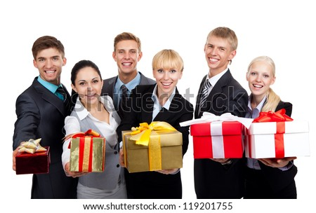 Business people group holding present gift box, young businesspeople standing together happy smile give wrapped giftboxes, portrait Isolated over white background