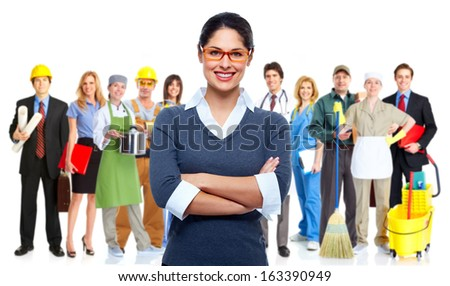 Business people group isolated. Teamworking conceptual background. - stock photo