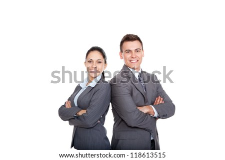 Business people group team standing folded hand smile, businessman and businesswoman wear gray suit Isolated over white background - stock photo