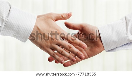 Business people hand greeting or meeting handshake - stock photo