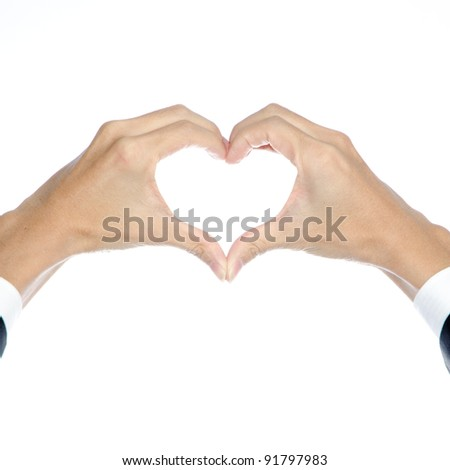business people hand heart shape isolated