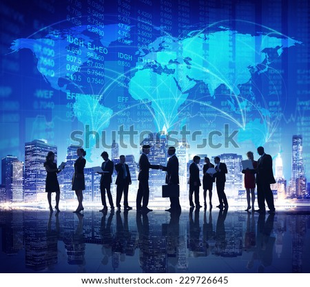 Business People Hand Shake Stock Exchange City Concept - stock photo