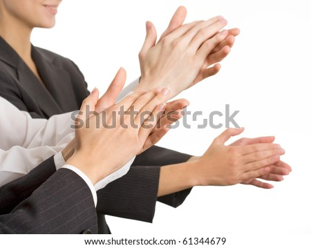 Business people hands applaud. The Close up - stock photo