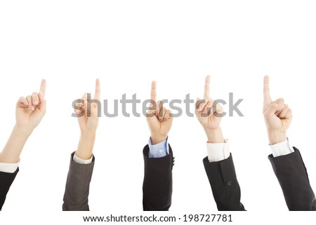 business people hands point upward together - stock photo