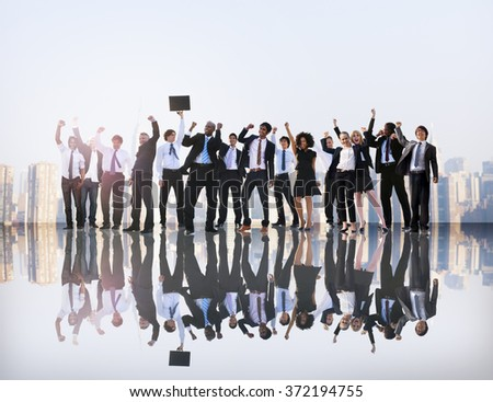 Business People Hands Raised Rooftop City Concept