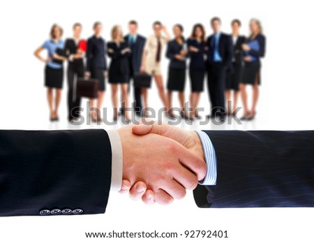 Business people handshake and group of business person. Business team. Isolated over white background.