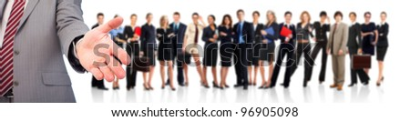 Business people handshake and group of business person. Business team. Isolated over white background. - stock photo