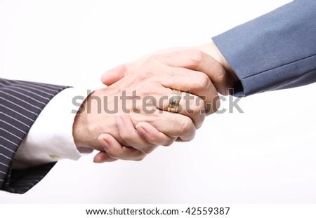 Business people, handshake between man and woman - stock photo