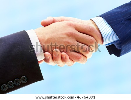 Business people. Handshake of businessman. Isolated over white background - stock photo