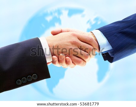 Business people. Handshake of businessman. Over blue background - stock photo
