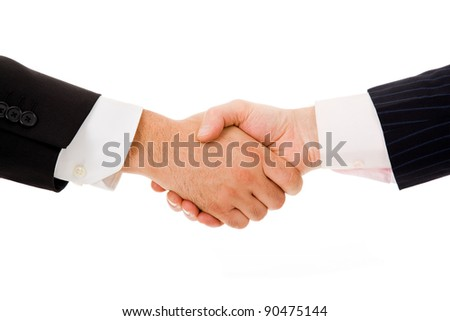 business people handshake on white background