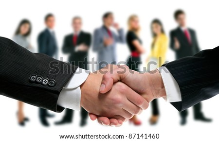 business people handshake with company team in background [Photo Illustration]