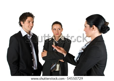 Business people have a meeting and the manager woman present something to her colleagues or invite them somewhere isolated on white background - stock photo