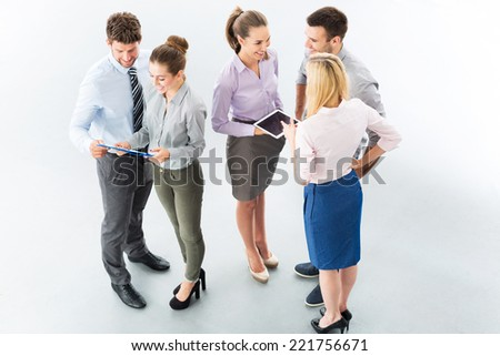 Business people, high angle view - stock photo