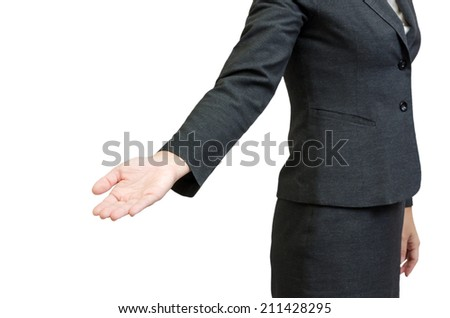 Business people hold hand isolated on white background - stock photo