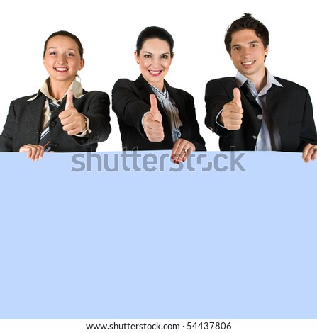 Business people holding a blank blue banner and giving thumbs up - stock photo