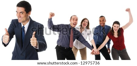 business people holding hands on a white background - stock photo