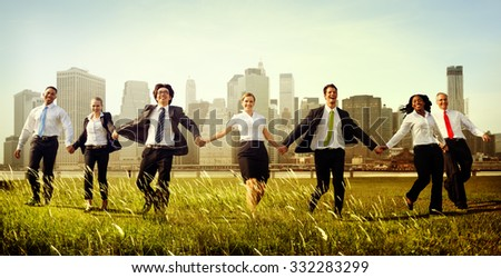 Business People Holding Hands Together Outdoors Concept - stock photo