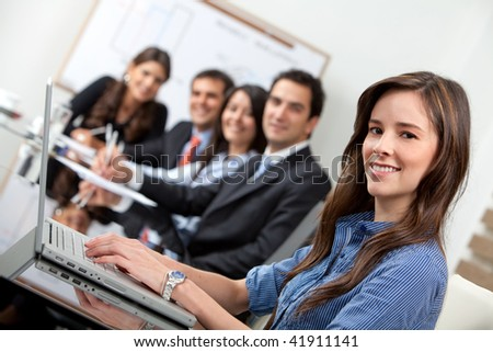 Business people in a meeting at the office - stock photo