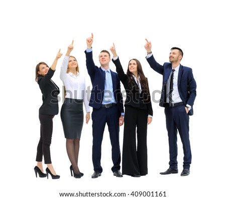 business people in a row pointing and looking up to copy space isolated on white background - stock photo