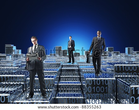 business people in 3d abstract world - stock photo