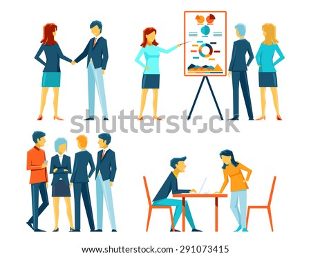Business people in different poses. Office person, manager and businessman, work showing and meeting - stock photo