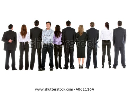Business people in line from behind and a man facing the camera isolated over white