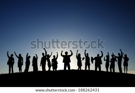 Business people in outdoors celebrating success. - stock photo