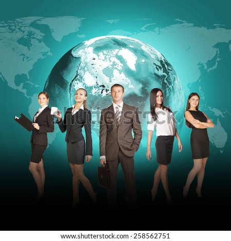 Business people in suits standing on background of Earth. World map on dark background. Elements of this image furnished by NASA - stock photo