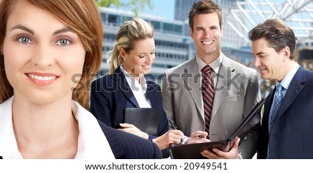 Business people  in the downtown. Businessman  and business woman
