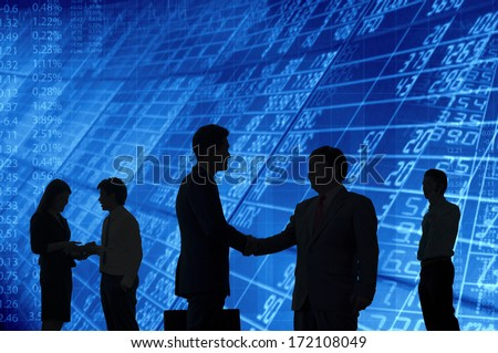 Business people interacting to each other. - stock photo