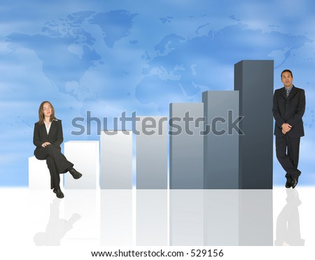 business people interacting with a column chart - stock photo