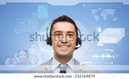 business, people, internet technology, communication and service concept - smiling businessman in headset and virtual screen interface over blue background