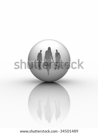 Business People Into Sphere Reflection - stock photo