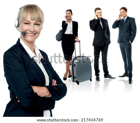 Business people isoalted over white background - stock photo