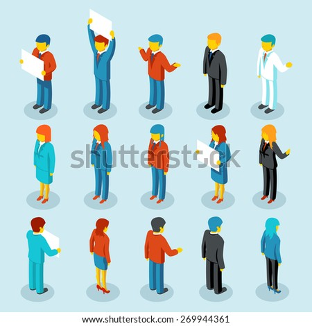 Business people isometric 3d figures. Set of woman and man - stock photo