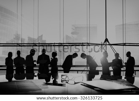 Business People Japanese Culture Bowing Respect Greeting Concept