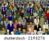 Business people large crowd - stock vector