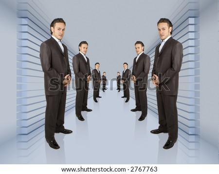 business people lined up in a long hallway