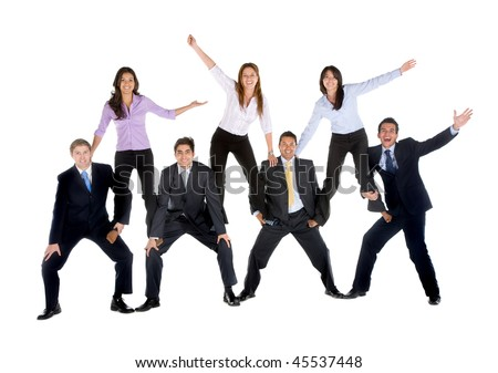 Business people making a pyramid isolated over a white background - stock photo