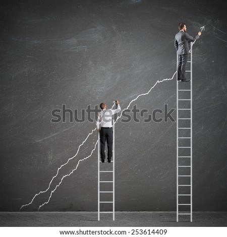 Business people manage to raise the statistics - stock photo