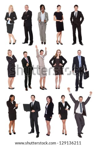 Business people, managers, executives. Isolated on white background - stock photo