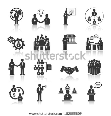 Business people meeting at office conference presentation icons set isolated  illustration - stock photo