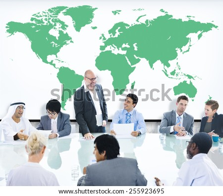 Business People Meeting Boardroom Leader World Map Concept - stock photo