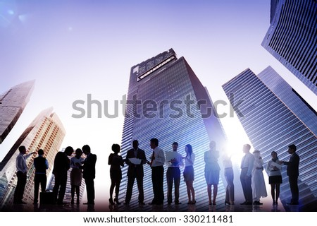 Business People Meeting Conference Corporate Cityscape Concept - stock photo