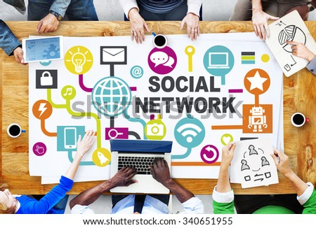 Business People Meeting Connection Communication Social Network Concept - stock photo