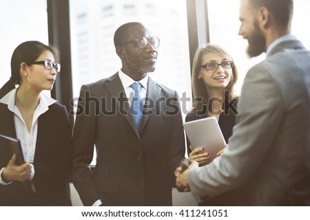 Business People Meeting Corporate Greeting Handshake Concept - stock photo