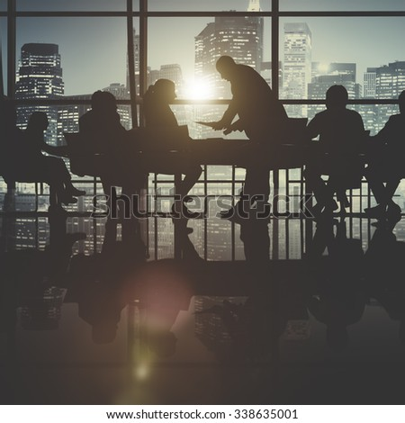 Business People Meeting Discussion Cityscape Concept - stock photo