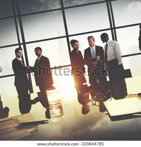 Business People Meeting Discussion Handshake Greeting Concept - stock photo