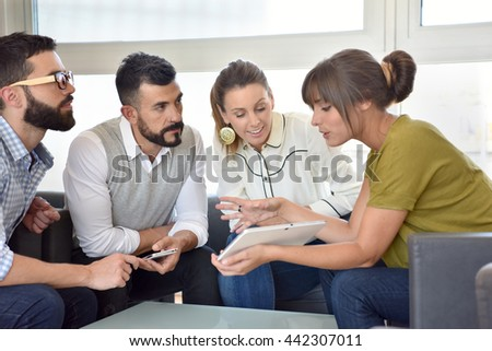 Business people meeting in lounge room